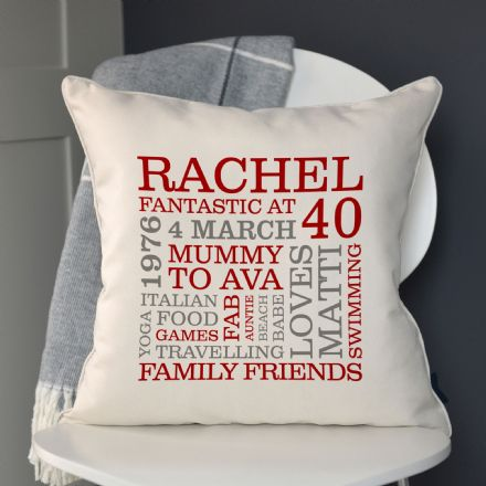Personalised 40th Birthday Word Art Cushion